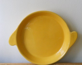 Vintage Pottery Yellow Serving Platter With Handles