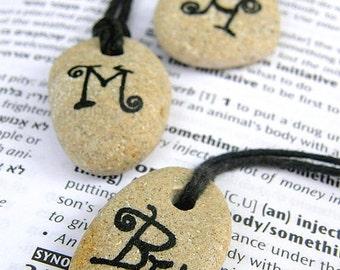 Monogram necklace,initial necklace,monogram pendant,initial pendant,beach stone necklace, Handwritten name necklace, name initial necklace
