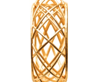 3D printed Gold Bracelet with geometric pattern of Circles