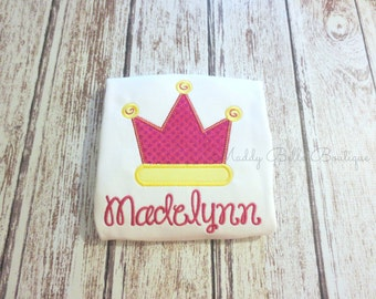 Fun Sparkly Princess Crown Appliqued Shirt - Embroidered, Personalized, Monogram, Crown, Princess Crown, Sparkly Crown, Glitter, Girls Shirt