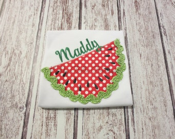 Fun Girls Summer Watermelon Appliqued Shirt or Tank Top - Embroidered, Personalized, Monogram, Summer, Watermelon, Girls Watermelon Shirt