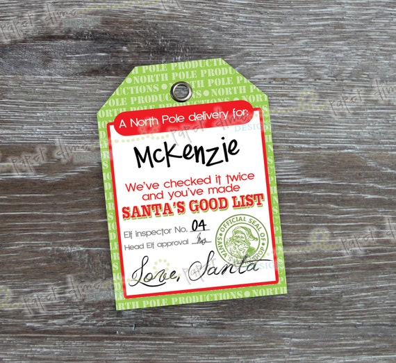 INSTANT DOWNLOAD Santa Gift Tags | Christmas elf holiday label sticker ...