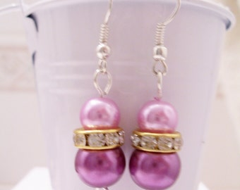 Soft pink and purple pearl earrings - pink and purple pearl beaded earrings - Swarovski banded earrings - pastel pearl earrings
