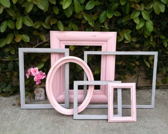 Vintage Wood Picture Frames, Set of 6, Grey & Pink, Shabby Chic,Distressed Wood, Wall Gallery Frames 11x14, 8x10, 5x7, 4x6 (Los Angeles)