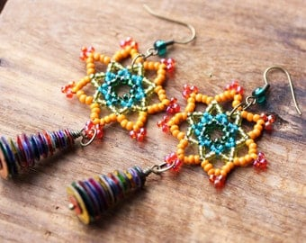 Sequins and Lace Seed Bead Earrings // Fractal Design Earrings, Seed Beaded Lace Earrings, Sequin Earrings, Lace Beadwork