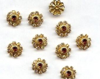 4 Vintage Swarovski Crystal Topaz Rhinestone Brass Filigree Flower Findings R213