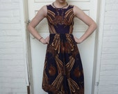 1950s Hand Made Dark Purple Pheasant Print Summer Dress with Pleated Skirt Size: XSMALL