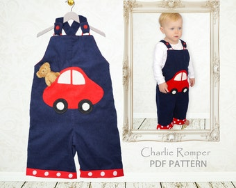Baby romper sewing pattern, boys sewing pattern pdf, boys pattern, overall pattern, sunsuit pattern, toddler newborn baby pattern CHARLIE