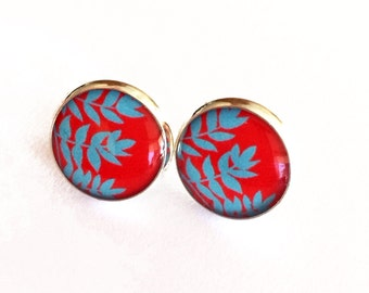 Red with Turquoise Blue Leaves Resin Post Earrings