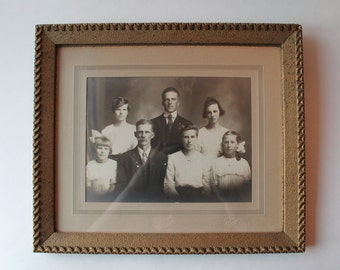 on sale: beautiful framed antique family cabinet photo photograph. vintage photo. vintage cabinet photo. antique photograph. sepia photo