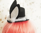 Black and White Lolita Bunny with Fluffy Tail  - Costume Top Hat