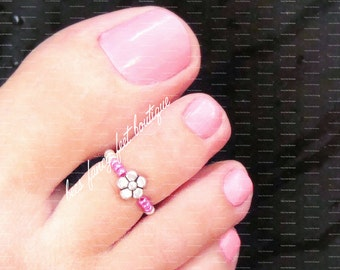 Toe Ring - Silver Violet - Metallic Pink - Silver - Stretch Bead Toe Ring
