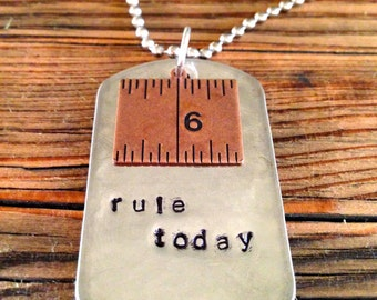 Dog tag necklace on a 30-inch ball chain - rule today!