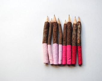"VALENTINE Collection . Eight 3"" or 5"" Dipped Graphite Twig Pencils . Shades of Pink . Ombre"