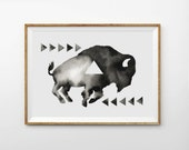 Print - Geometric Sleepy Buffalo - Print from an Original Watercolor