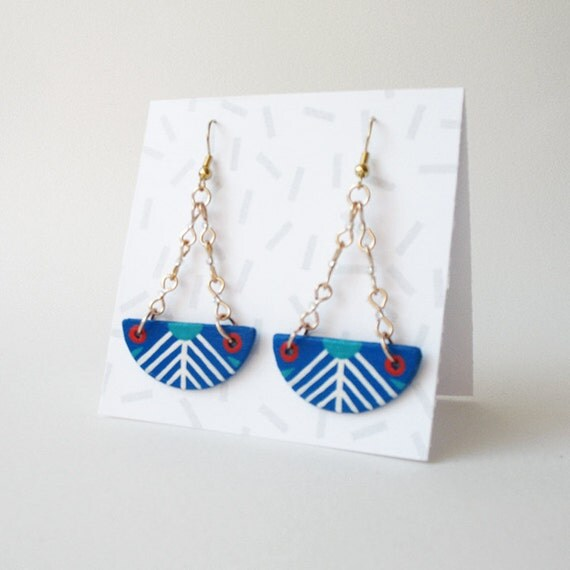 Geometric Semi-Circle Earrings in Cobalt