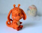 Needle felted little Orange monster