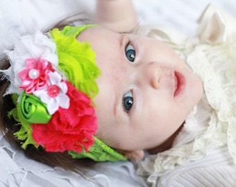 hot pink and lime green Headband, baby Headband, shabby Baby headband, newborn headband, flower headband, baby girl  hairbow
