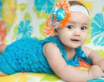 turquosie/ orange lace romper and headband SET,petti romper,baby headband,girls first birthday outfit, vintage headband, lace petti romper
