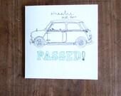 Wheelie well done PASSED! Driving test handmade card