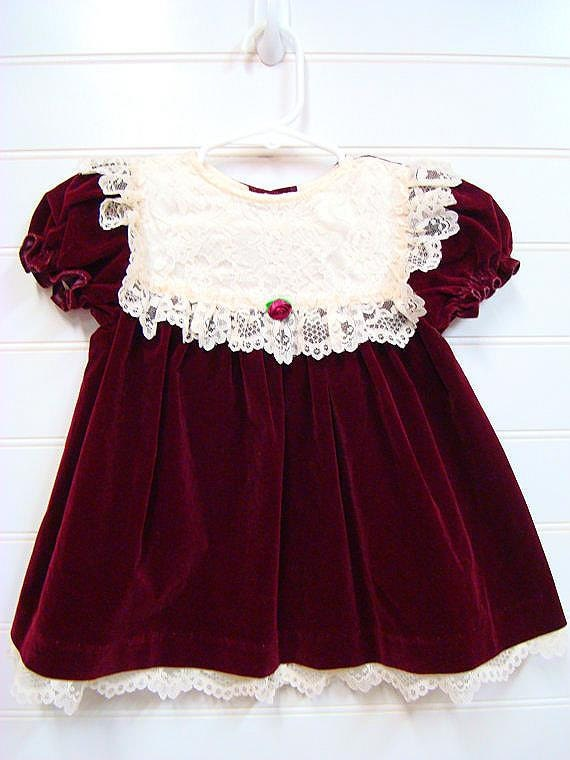 Vintage Baby Clothes Baby Girl Dress Burgundy Velvet