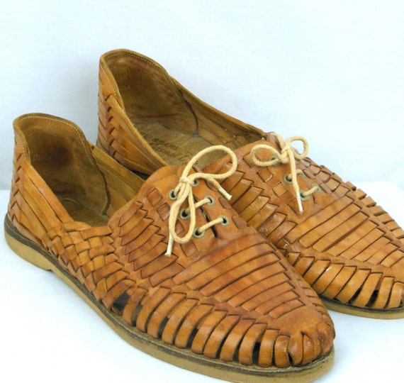 vintage 80s 90s mens leather shoes wicker style sandal