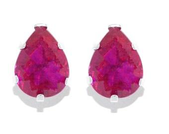 14Kt White Gold Ruby Pear Shape Stud Earrings