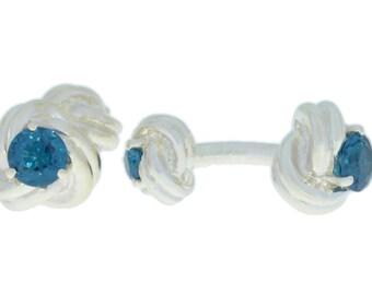 2.5 Ct London Blue Topaz Knot Cufflinks .925 Sterling Silver Rhodium Finish