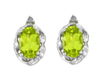 1 Ct Peridot & Diamond Oval Stud Earrings .925 Sterling Silver Rhodium Finish