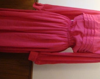 Vintage  60s Sheer Hot Pink Dress with Celuloid Brooch Pleated Front DIY Church Occasion