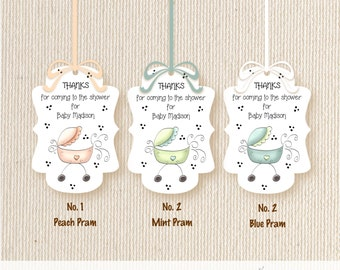 Baby Shower Favor Tag, customized, personalized, pram, polka dots, sprinkle tag, gift tags, thank you tags, hostess tags, T902