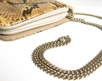 Vintage Snakeskin Clutch with Hidden Chain