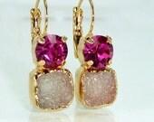 Hot Pink Drop Earrings, Fuschia & Gray Druzy Earrings,Double Stone Drop Earrings, Gold Earrings, Dangle Gemstones Earrings, Bezel Sets .