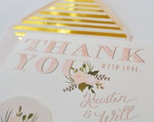 Custom Thank you wedding note cards/Custom set of 25/ Gold Foil Blush/ Liner