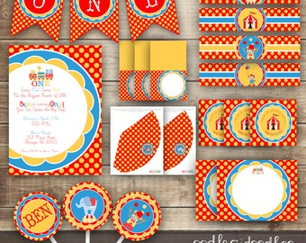 Circus Birthday Party Carnival Red Yellow and Blue, Circus Birthday, Carnival Birthday Party Package, Children's Birthday - Printable