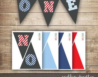 1st Birthday Pennant Banner / Printable Pennant Banner / Boy's First Birthday / Red & Blue / ONE banner - INSTANT DOWNLOAD - Printable