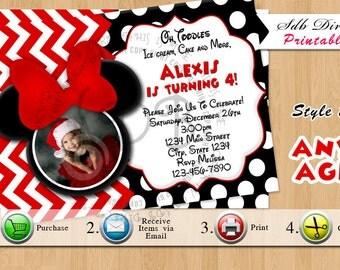 Minnie Mouse Invitation, Minnie Mouse Invitations, Minnie Mouse Party, Minnie Mouse Party, Birthday, Red, Chevron,Printable
