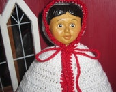 "Crochet Christmas Cape fits 6 to 7"" dolls like Hitty and Kish Red and White"