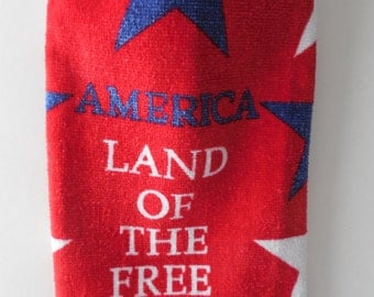 Kitchen Towel - Land of the Free - Patriotic Crochet Top - Red White and Blue - Handmade - Crochet - Made to Order