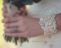 R1450 - Vintage Lace Cuff Bracelet - pearl embellished- wedding cuff - bridal accessories
