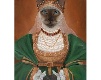 """Siamese Cat Print, 5x7"""", Siamese Princess, Cat In Clothes, Anthropomorphic Cat"""