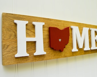 "Ohio State Buckeyes ""State Heart"" Home Sign - Handcrafted wood with official team colors"
