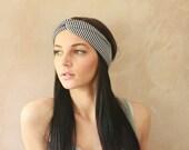 Turban Twist - Turban Headband, Sweatband, Twisted Headband, Headwrap, Fabric Hairband, Headscarf - Thin Navy Stripes