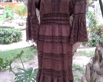 Vintage Mexican Made Brown Lace Dress - Small - Size 4/6