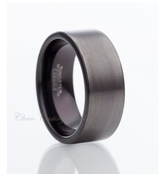 Gun metal tungsten wedding bandmens tungsten ringmen by for Mens gunmetal wedding rings