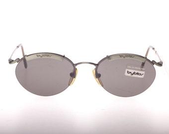 Byblos metallic green oval steampunk signature browline half rimmed sunglasses, NOS 1980s
