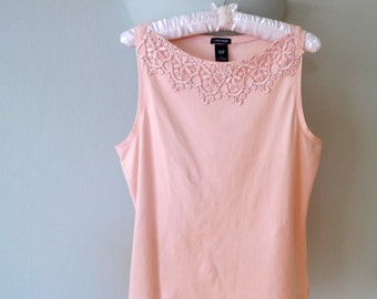 Pink Lace Top, Sleeveless Top, Pink Summer Top, Gap Pink Top, Women's Pink Top, Summer Pink Top, Sleeveless Blouse, Stretch Fabric Top