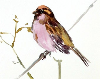 Sparrows on the tree, Original watercolor painting, 10 x 8in,