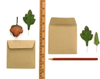 "50 Mini Brown Kraft Open-end Envelopes - 95x95 mm (3 3/4"" square) - for 90x90 mm note cards"