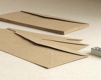 """50 DL Brown Kraft Envelopes - Triangle flap - For international A4 paper folded into third - Size: 219mm x 111mm (8 1/2"""" x 4 1/4"""")"""